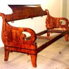 Диван, XIX в. Ампир. Пламенная береза. Полная реконструкция дивана по сохранившимся обмерам. Из деталей оригинального предмета сохранилась только спинка.