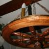 Декоративная люстра в виде колеса. Мареный дуб, бронза. Радиус 70